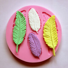 Feather silicone mold for fimo resin polymer clay fondant cake chocolate moulds