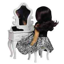 "18"" Doll White Victorian Vanity  Table Desk & Stool Furniture For American Girl"