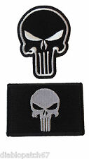 Punisher Skull Military Tactical Airsoft Operator Cap Patch set of 2 velcro hook