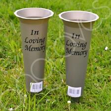 Set of 2 In Loving Memory Spiked Memorial Grave Flower Vases Container Holder