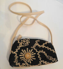Stone Mountain Embroidered Beaded Canvas Shoulder Bag Purse Small