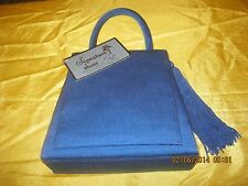 Alfa New Grosgrain purse evening bag Sq. flap  w/ side tassel sh.  Electric Blue