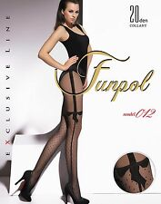 "WOMEN LADIES BLACK PATTERNED TIGHTS 20 Denier ""model 012"" SIZE M"