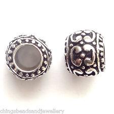5 Perles Argent Antique 10x9mm trou 5mm pour Bracelet Breloque Européen