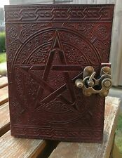 "Pentagram and Celtic design leather journal , book of shadows, Wicca Pagan 7""x5"""