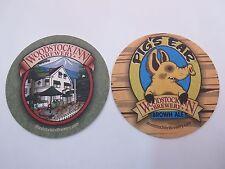 Beer COASTER ~ WOODSTOCK INN Brewery Pig's Ear Brown Ale ~ NEW HAMPSHIRE    Hog