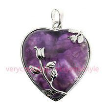 1PC Natural Amethyst Gemstone Heart Leaf Wrap Bead Focal Pendant Jewelry Womens