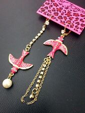 E483 BETSEY JOHNSON Yellow or Pink Swallow Martin w/ Pearl Tassel Earrings US