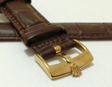 ROLEX 20MM GENUINE LEATHER WATCH STRAP,BROWN, GOLD PLATED BUCKLE.(WZ-S14)