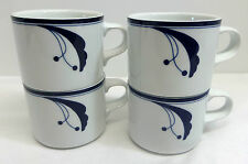 Dansk Flora Bayberry Blue Set of 4 Coffee Mugs Portugal