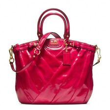 NWT Coach Madison Diagonal Patent Leather Lindsey Large Satchel 21299 Punch Red