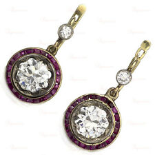 Antique Belle Epoque Diamond Ruby Platinum 18k Yellow Gold Earrings