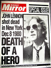 JOHN LENNON Shot Dead Newspaper The Beatles New York Liverpool Signed Old Retro