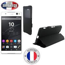Etui Rabattable Noir Avec Ouverture Ecran pour Sony Xperia C5