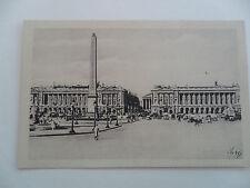 ANTIQUE Photocard-No.53 d'Art Jan LA PLACE DE LA CONCORD et L'OBELISQUE