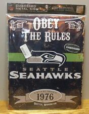"""Vintage Style Seattle Seahawks """"Obey The Rules"""" Embossed Metal Sign new"""