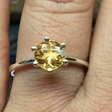 Natural 1ct Golden Citrine 925 Solid Sterling Silver Traditional Ring 9