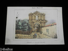 """Gravure Lithographie Couleur """"Ruines du Palais Gallien"""" 19ème Bordeaux Monument"""