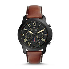 FOSSIL FS5241 Grant Chronograph Stainless Steel Luggage Leather 45mm Men's Watch