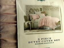 4pc simply shabby chic KING duvet comforter cover set pink pleated Beach Cottage