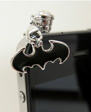 New BATMAN PHONE CHARM mobile cell anti-dust jack plug rhinestone bat wing S/B