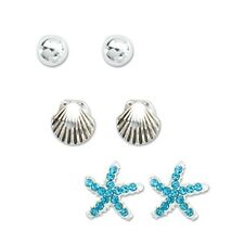 PERIWINKLE by BARLOW Silver SEASHELL BALL Crystal STARFISH Set 3 Earrings NWT