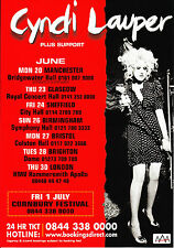 Cyndi Lauper '2011 UK TOUR' A5 Flyer New