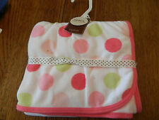 NWT Carters little layette white baby blanket edged in pink w/multicolored dots