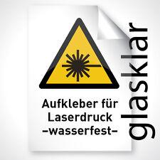 FARBLOS KLAR GLÄNZEND 50x Outdoor Laser Kopier Folie Aufkleber A3 Profi Qualität
