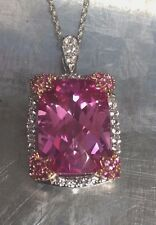 Sterling Silver 925 Emerald Cut Pink Sapphire CZ Halo Necklace 18''