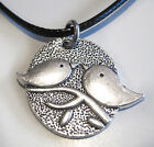 Antique Silver Plated Love Birds Charm Pendant Black Leather -Ette Necklace