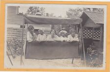 Real Photo Postcard RPPC - Three Women Two Girls in Covered Swing
