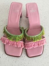 Authentic Vintage Beauty Fendi Pink and Green Tassel/Fringe Women Sandals Size 5