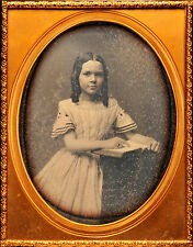 DAGUERREOTYPE HALF PLATE FULL CASE GIRL WITH BOOK, TINTED.RARE.