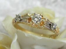 ANTIQUE ESTATE 14KT YG VS/G DIAMOND DECO FILIGREE ENGAGEMENT RING - DATED 1915