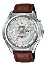 Casio MTP-E200L-7A Men's Leather Band Illuminator Day Date Silver Dial Watch
