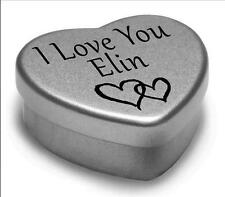 I Love You Elin Mini Heart Tin Gift For I Heart Elin With Chocolates or Mints