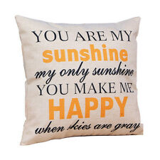 """You are my Sunshine ""Cotton Linen Cushion Throw Pillow Covers Pillowslip Case"