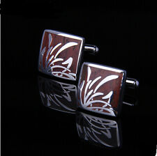 stainless steel Wood orchis Mens Wedding Party gift shirt cufflinks cuff links
