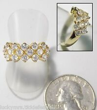 Gorgeous Signed Sparkly CZ Crystal Ring, 3-Row Prong-Set Stones, 14K HGE, Size 7