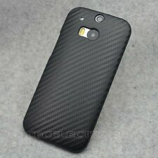 For HTC One 2 II M8 New Black Carbon Fiber hard Case Back Cover