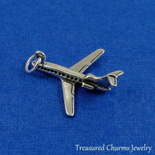 925 Sterling Silver Airplane Charm  - 3D Boeing 747 Travel Vacation Pendant