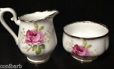 ROYAL ALBERT BONE CHINA CREAMER & SUGAR - AMERICAN BEAUTY PATTERN - PINK ROSES
