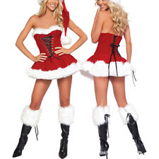 Sexy Women Christmas Fancy Dress Santa Claus Velvet Costume Outfit Xmas set