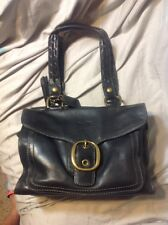 COACH 11420 BLEECKER BLACK LEATHER SATCHEL HANDBAG PURSE TATTERSALL SHOPPER TOTE