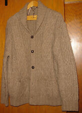Mens brown wool cable knit Tasso Elba cardigan sweater sz M
