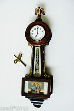 VTG Antique Banjo Wall Hanging Clock 8 day The New Haven Clock Co. with Key SAIL