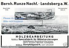Holzbearbeitung Runze Landsberg Warthe Reklame von 1927 Sägewerk Holz Werbung ad