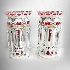 PAIR of large white to cranberry lusters with heavy prisms - FREE SHIPPING