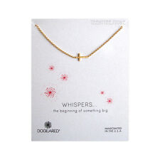 """Dogeared Gold Sideway Cross,14K Gold Filled 18"""" Chain Whispers Necklace & Pouch"""